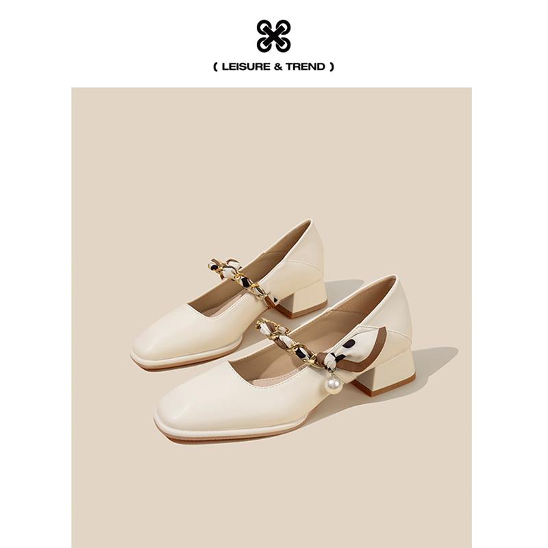 年新款夏秋季浅口中粗跟法式珍珠复古玛丽珍鞋单鞋女 方巷  FXSO 2021