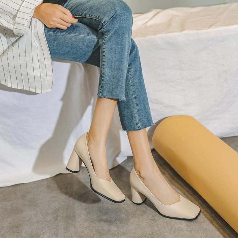 高跟女鞋2021年新款春夏季高跟粗跟方头浅口仙女中跟职业单鞋主图