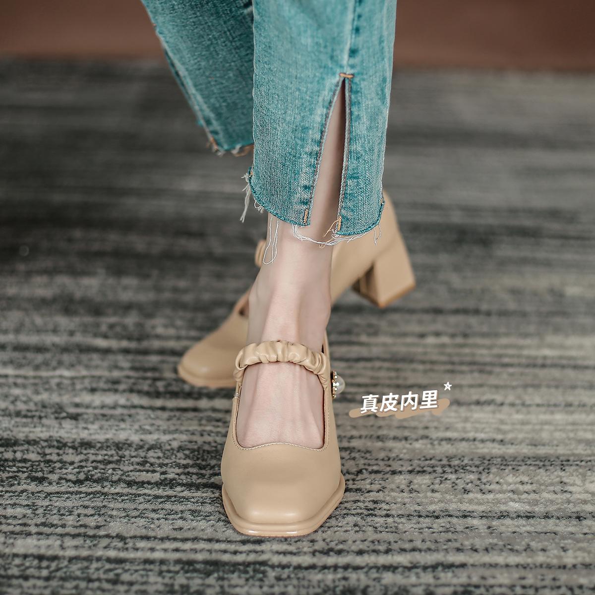 FXSO方巷大叔单鞋百搭2021新春夏季法式高中跟粗跟网红玛丽珍女鞋 No.2