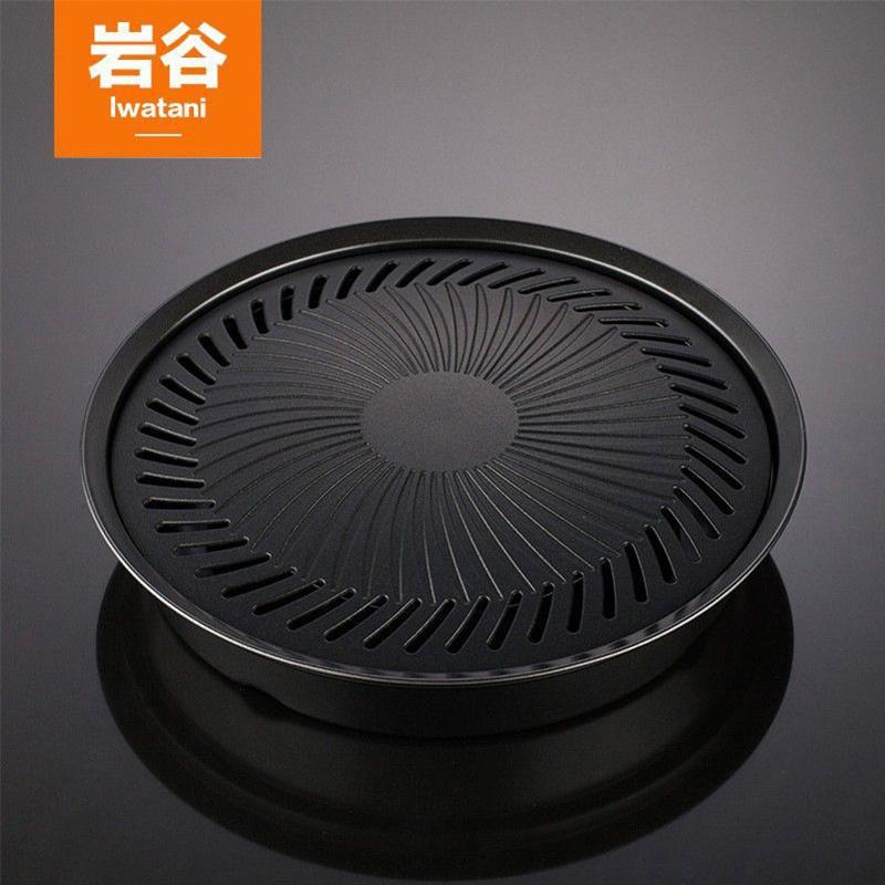 巖谷 韓式烤肉盤 野外戶外卡式爐燒烤盤 圓形便攜不粘鍋鐵板燒盤
