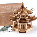 Yi Di American wooden ancient building sand table model assembled DIY home Decoration handmade gifts hut pavilion eaves
