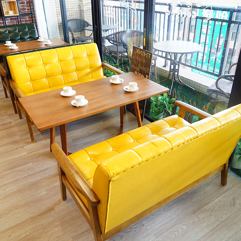 北欧简约休息区洽谈沙发卡座咖啡厅饮品店甜品店实木沙发桌椅组合