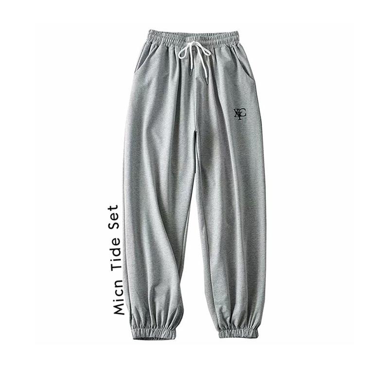 BM MICN灰色显瘦个性字母刺绣运动裤女新秋冬高腰垂感休闲裤