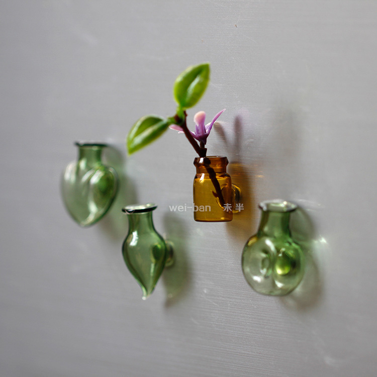 超小玻璃瓶插花创意冰箱贴 强力磁铁磁贴 吸铁石家居装饰品留言贴
