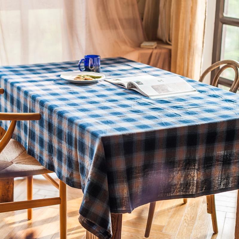 【掬涵】復古格紋桌布檯布桌旗蓋布餐布經經典格子桌面裝飾餐桌