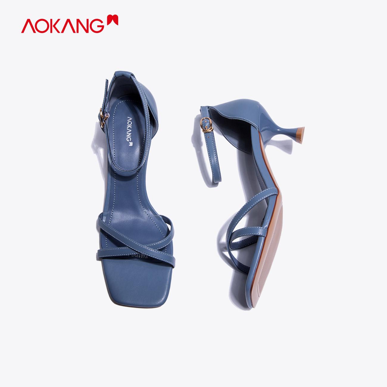 奥康女鞋 2020夏季新款时尚方头欧美气质高跟凉鞋仙女一字扣带