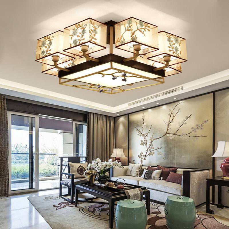 新中式吸顶灯客厅铜大灯现代简约大气餐厅卧室中国风套餐灯具组合