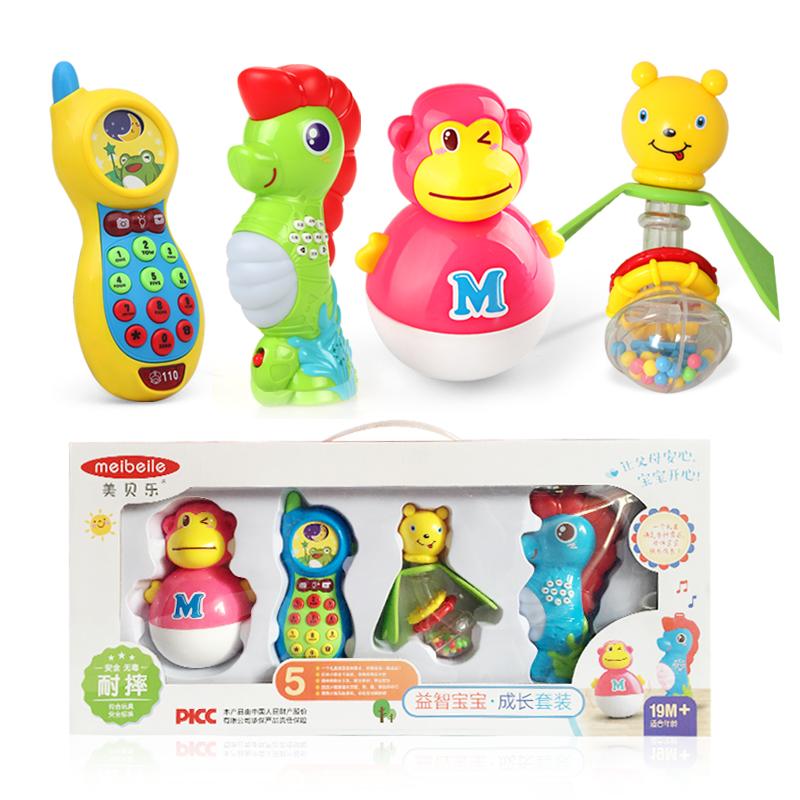 婴儿摇铃玩具套装硅胶牙胶奶瓶摇铃0-1岁新生儿宝宝益智玩具