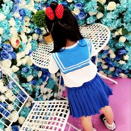 夏装卡通女童装女孩短袖套装水手服美少女学院风短袖+短裙