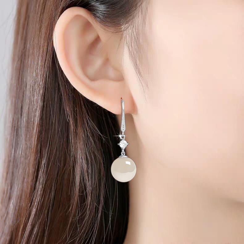 2021新款潮999足银珍珠耳坠女防过敏复古耳环爆款高级纯银耳饰品