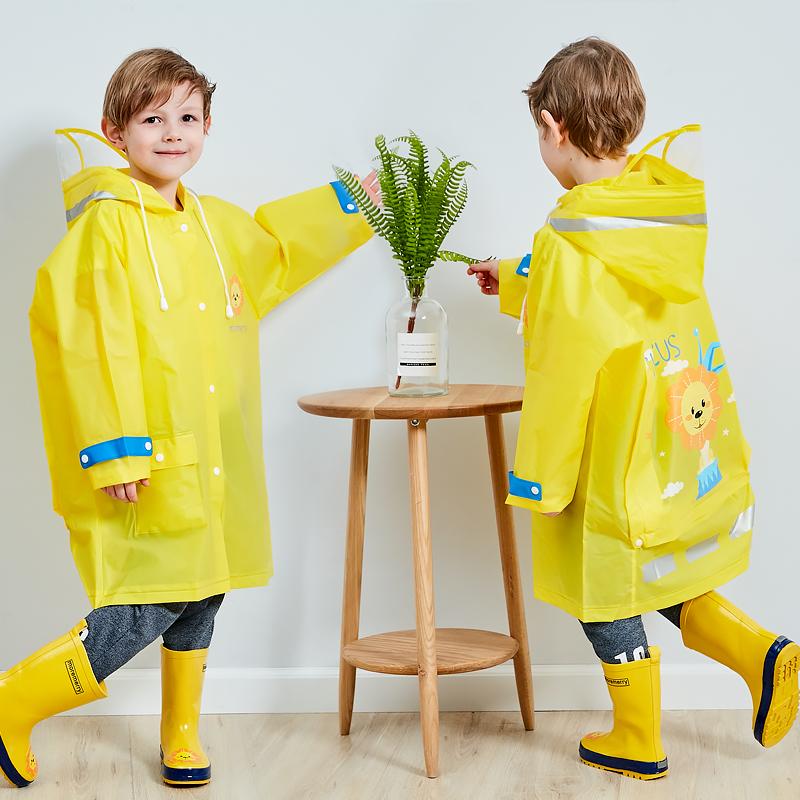 雨衣儿童男童女童大帽檐小孩防水雨披分体雨衣带书包位学生雨衣