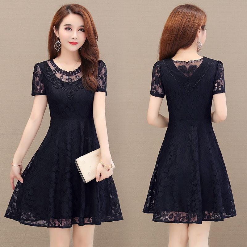 2020夏季短袖蕾丝裙子30-40-50岁中年女士妈妈显瘦夏天大码连衣裙