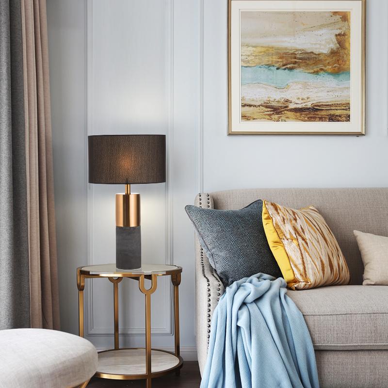 后现代美式水泥台灯北欧创意床头台灯样板房会所酒店黑色客厅台灯
