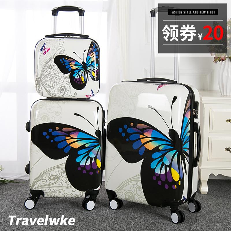 卡通蝴蝶拉桿箱包萬向輪行李箱旅行箱子母箱20寸24寸密碼登機箱女