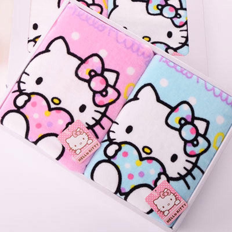 亞光正品Hello Kitty凱蒂貓全棉毛巾可愛卡通泡泡糖面巾2條禮盒裝