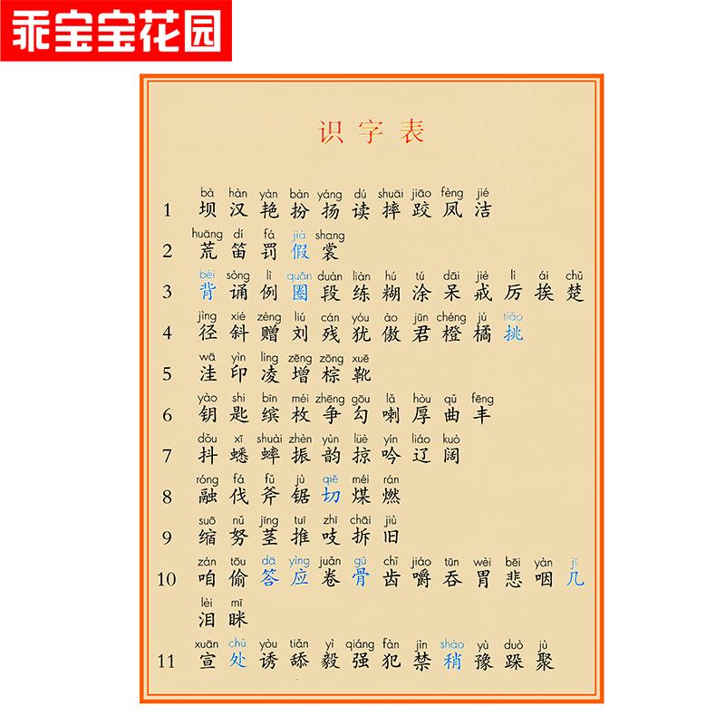 2018部编版乖宝宝无图识字卡片人教版三年级上册下册小学语文生字
