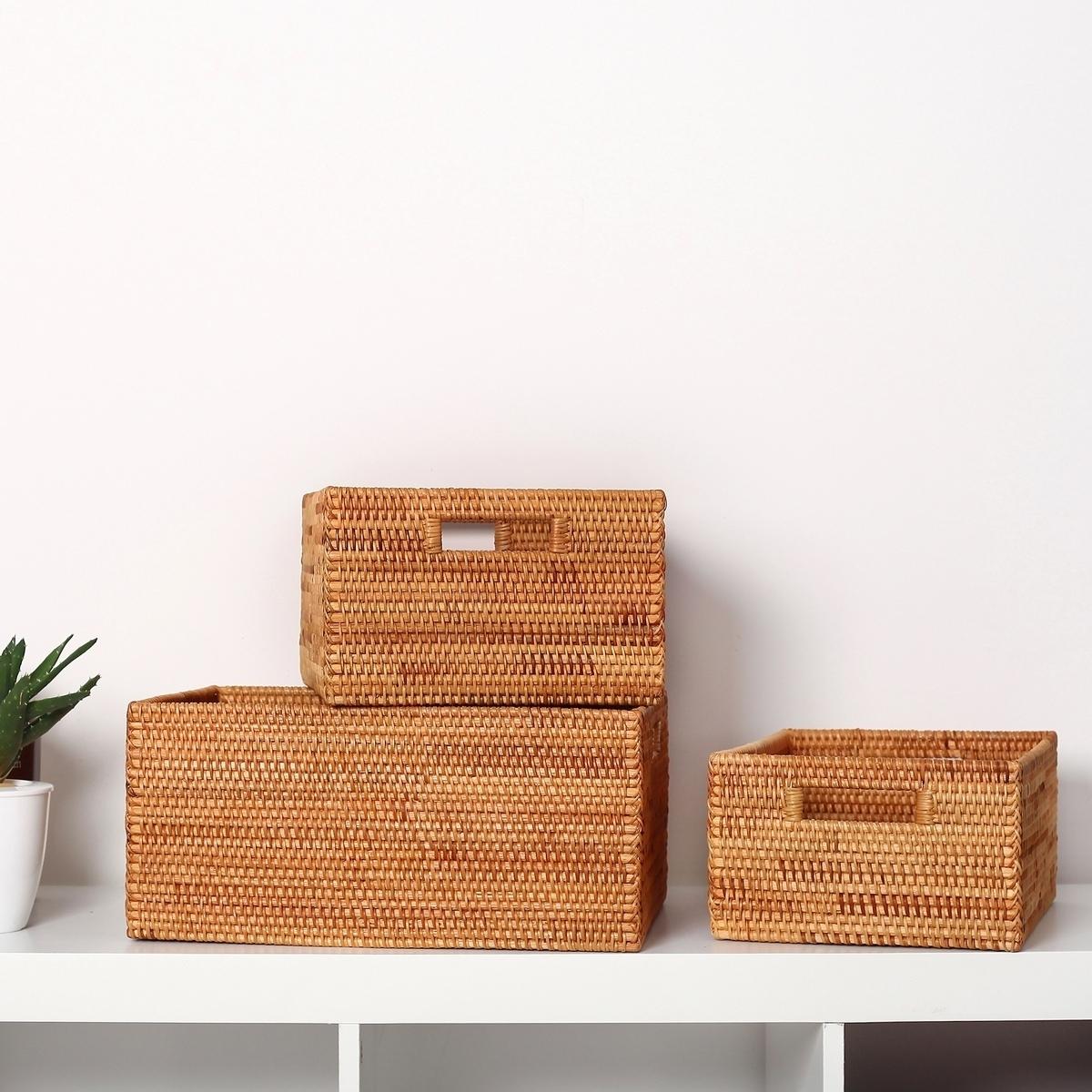 藤編收納筐玩具雜物桌面咖色收納北歐日式收納盒包郵竹編籃定做