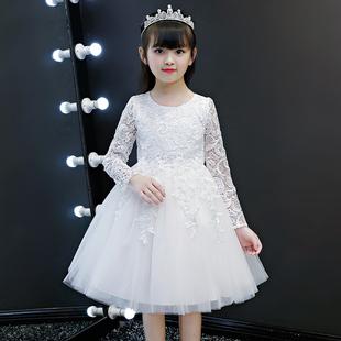 秋装2019新款儿童白色连衣裙