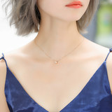 Gem Miner 18k Rose Gold Diamond Necklace Journey Diamond White Gold Bubble Clavicle Chain Single Diamond Pendant Genuine