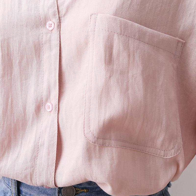 2021夏装新款双口袋设计棉麻衬衫女短袖韩版宽松显瘦休闲翻领衬衣主图