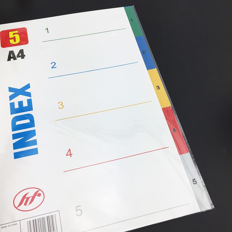 彩色分页纸1-5 PP 塑料分页纸 索引纸 A4 5页分类纸 隔页纸 隔纸