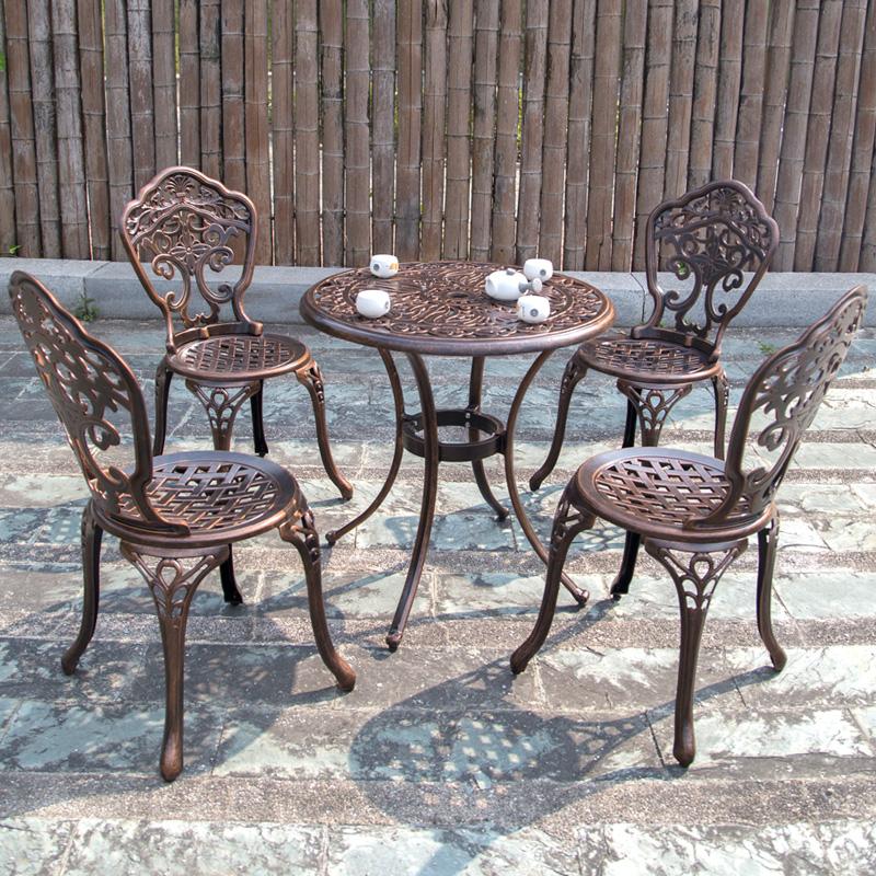 铸铝户外桌椅庭院花园藤椅铁艺休闲露台阳台室外桌椅三五件套组合