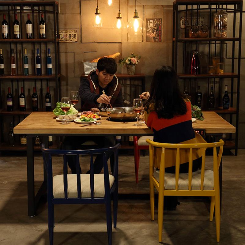 复古工业风烧烤火锅桌椅主题餐厅火锅桌椅组合复古铁艺实木火锅桌