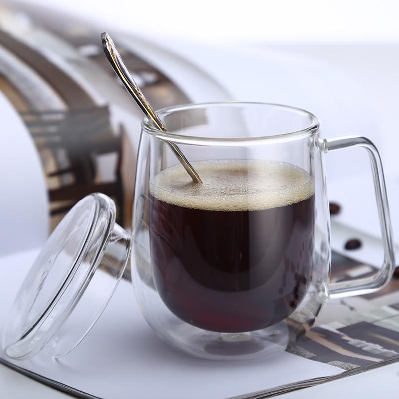 双层隔热咖啡杯透明耐热玻璃杯带把茶杯男女办公水杯带盖马克杯子