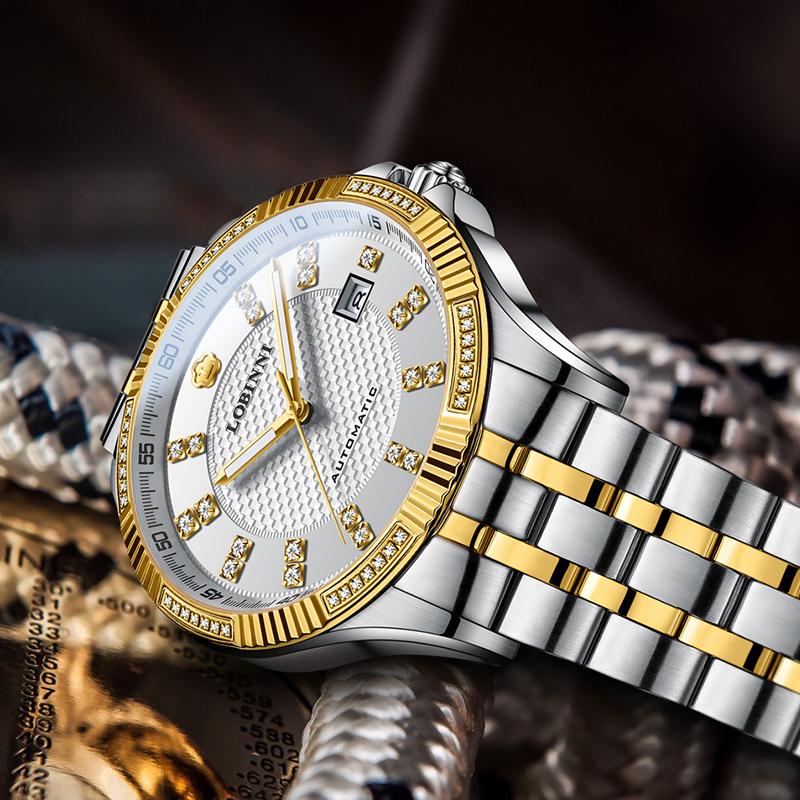 罗宾尼男士手表正品全自动机械表男钢带简约复古品牌男表防水