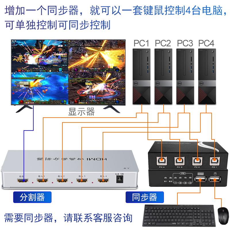 达而稳 HDMI分屏器四进一出dnf地下城搬砖4开画面分割器电脑一分4