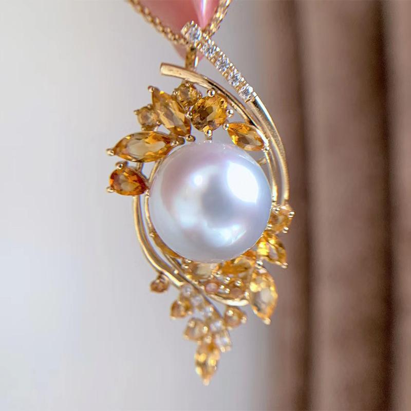 金镶嵌孪洋金珍珠项链澳洲白珍珠毛衣链 18K 银镀 925 巴西黄水晶吊坠