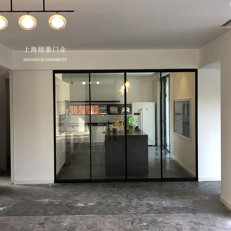 铝镁合金哑黑细框窄边厨房移门客厅阳台吊轨无下轨推拉门玻璃隔断