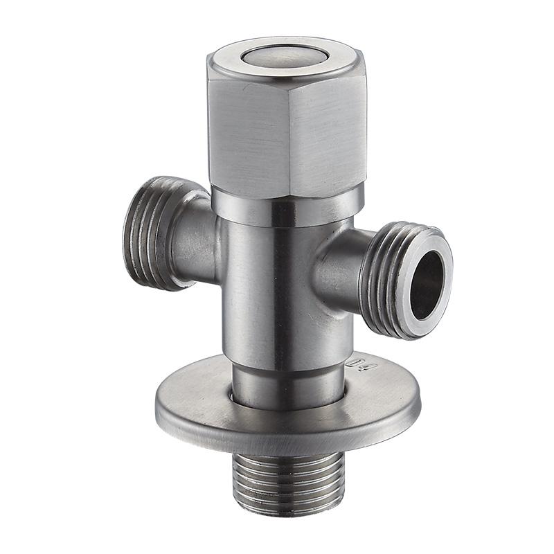 不銹鋼熱水器開關止水分水閥門衛浴角閥 304 一進二出三通角閥家用