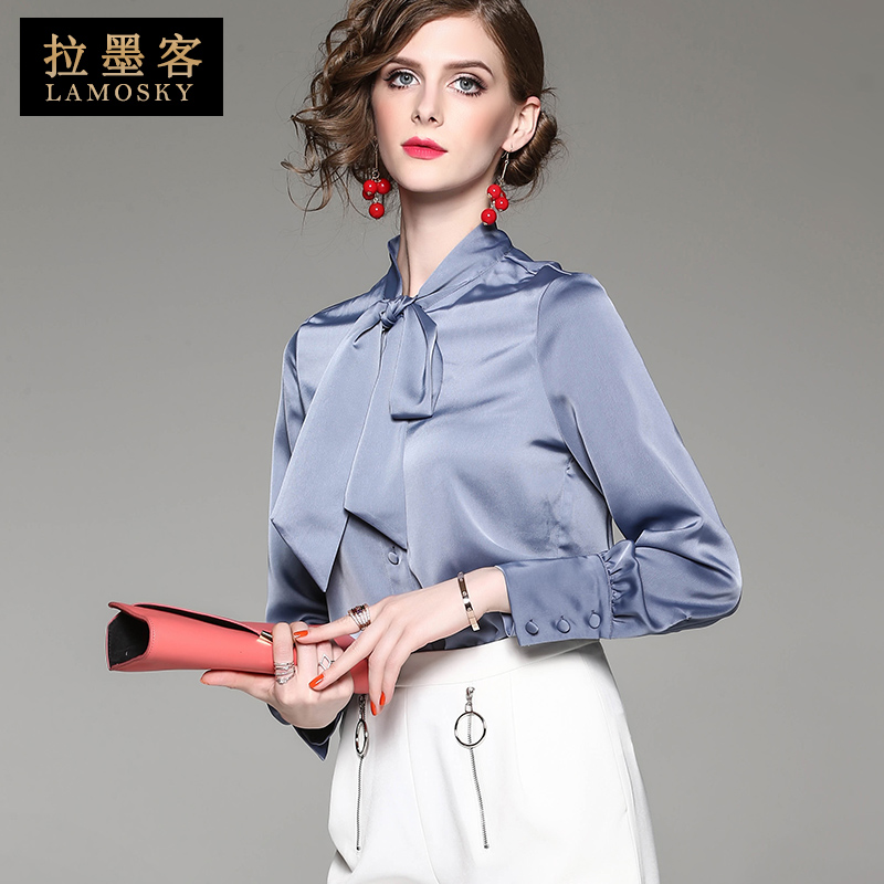 拉墨客2019新款欧货通勤女士长袖雪纺衬衫宽松大码上衣白衬衣纯色