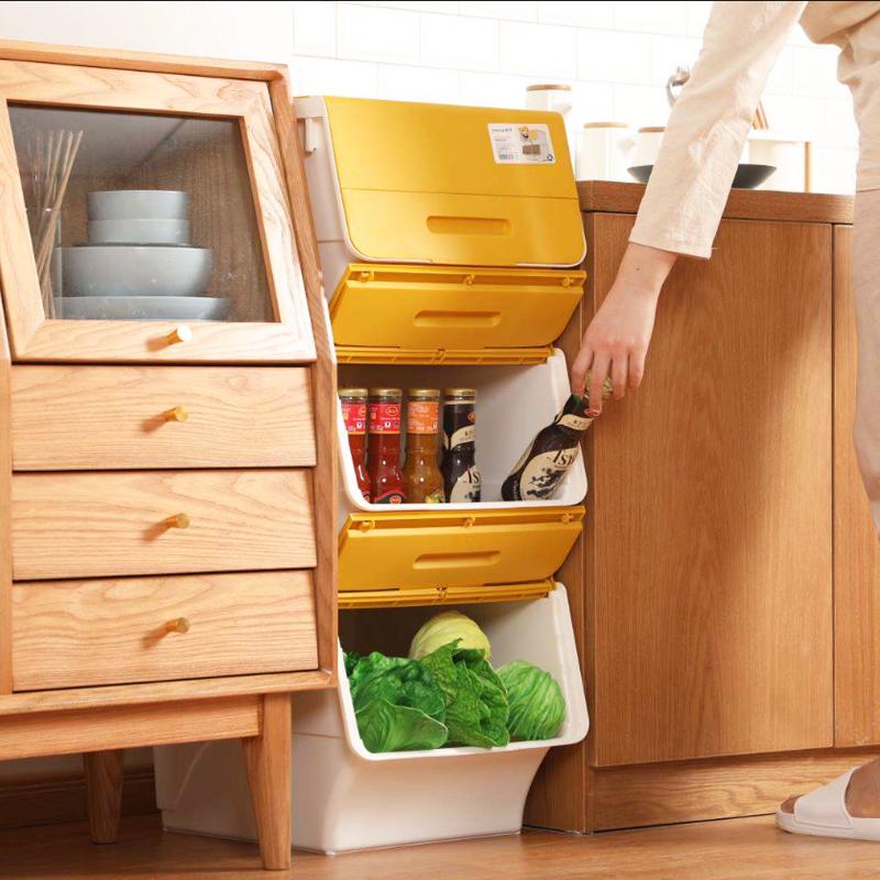 人性化设计,告别翻箱倒柜:24Lx2件 茶花 家用斜翻盖收纳箱