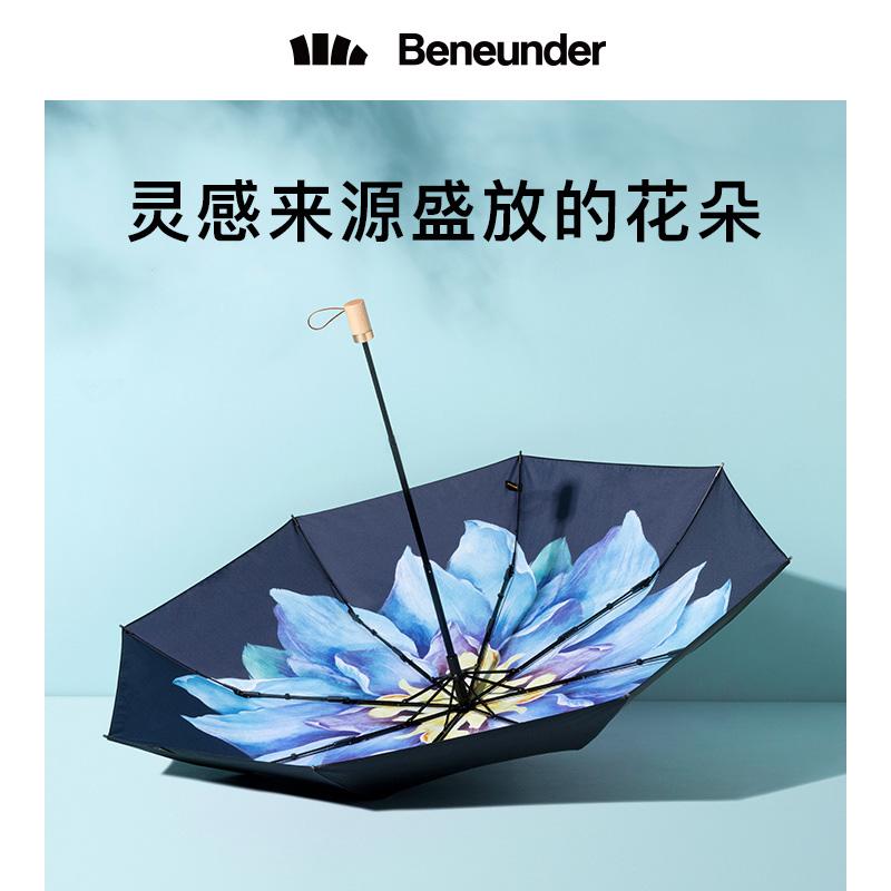 蕉下莲町太阳伞遮阳小黑伞防晒防紫外线雨伞女晴雨两用双层黑胶伞【图3】
