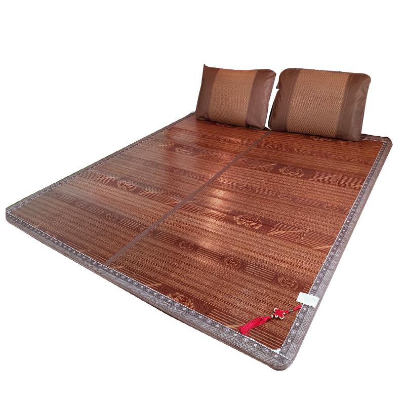 竹凉席1.8m床双人席子双面夏季直筒折叠凉席1.5夏天冰丝竹席1.2米