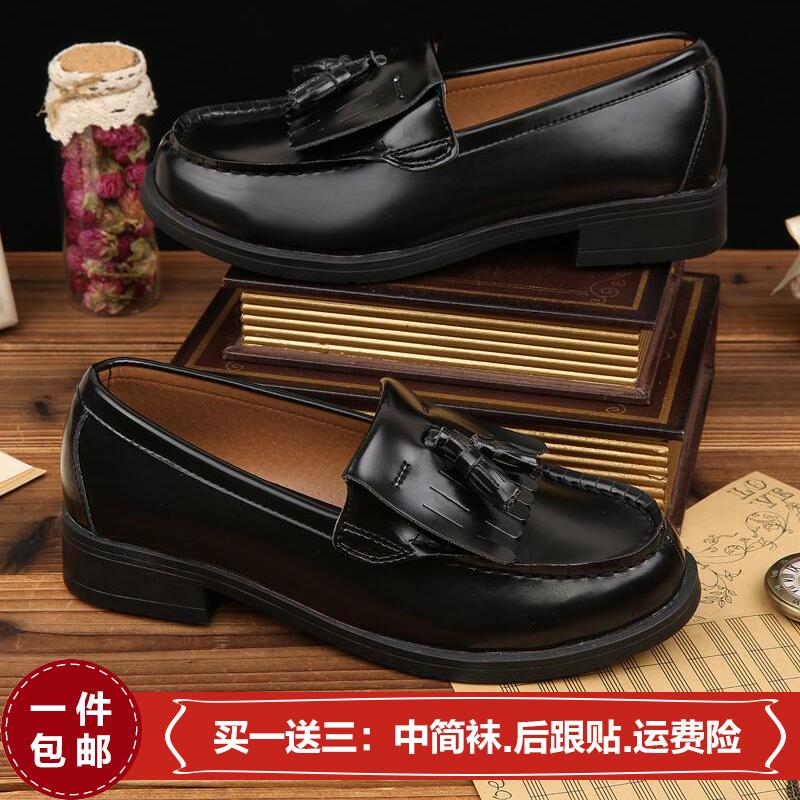 日本雪松流蘇款高校生JK制服鞋黑色茶/棕色正統學生鞋子cos表演鞋