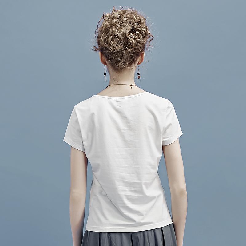 衣之庄园夏季新品韩版女装白色百搭圆领简约印花修身短袖T恤上衣