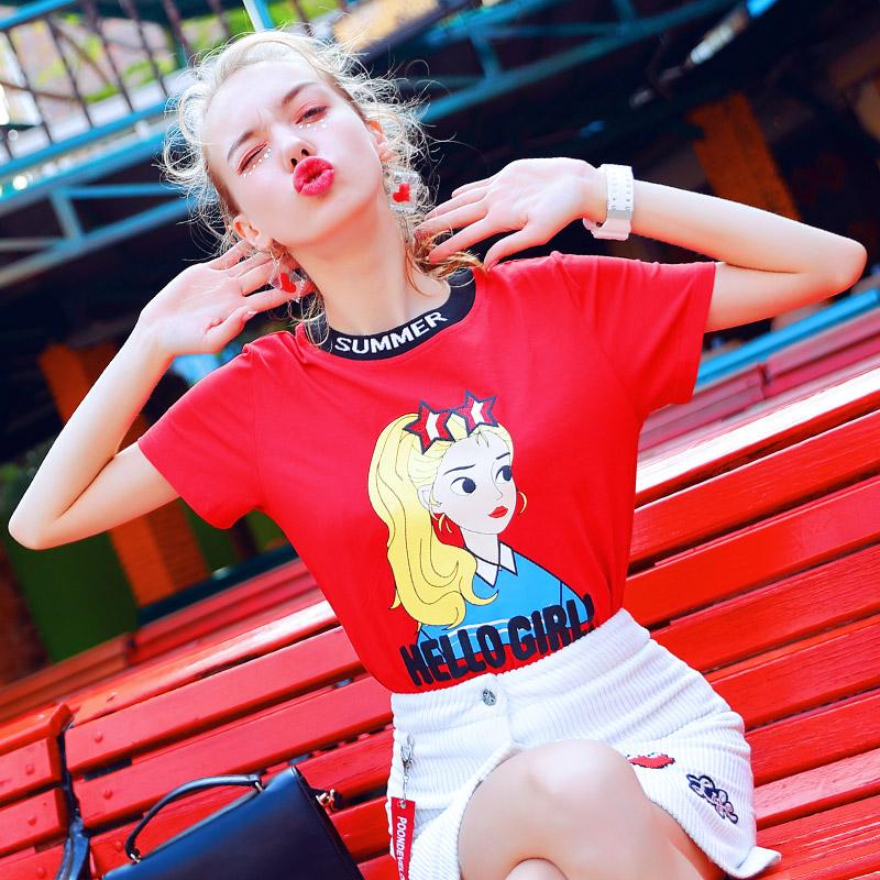 2018新款短袖t恤女装可爱萌系时尚休闲衣服大红色上衣夏季宽松潮