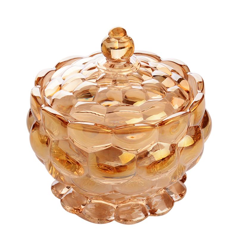 创意茶几糖果盅时尚客厅欧式水晶玻璃零食罐子干水果盘碟小吃糖缸