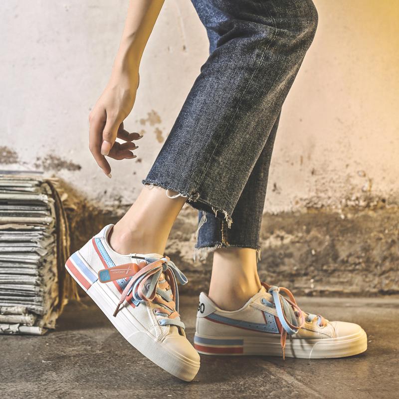 潮网红小白鞋板鞋洋气 ins 百搭韩版 ulzzang 夏季薄款帆布鞋子女 2020