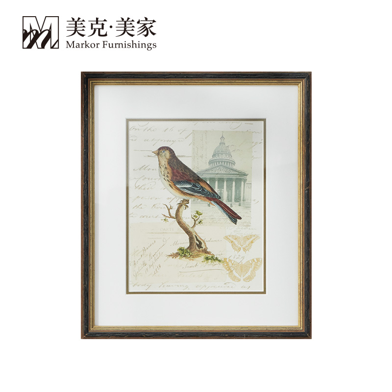 美克美家画报风格小鸟装饰画 美式客厅餐厅卧室背景墙画怀旧挂画