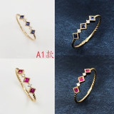 18K gold inlay light luxury natural pigeon blood ruby ​​emerald sapphire diamond ring small fresh minimalist fashion