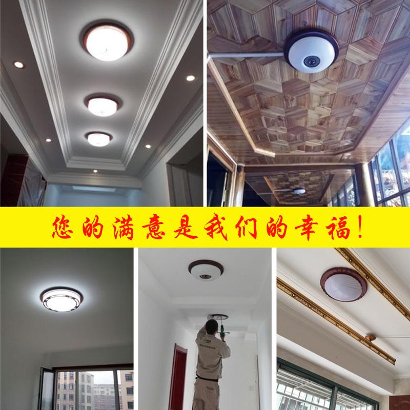 中式吸顶灯中国风实木圆形中式过道灯现代简约入户灯玄关灯阳台灯
