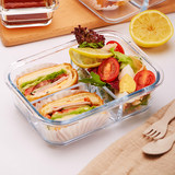 iCook lunch box lunch box Korean student sub-grid glass bowl with lid sealed crisper microwave lunch box
