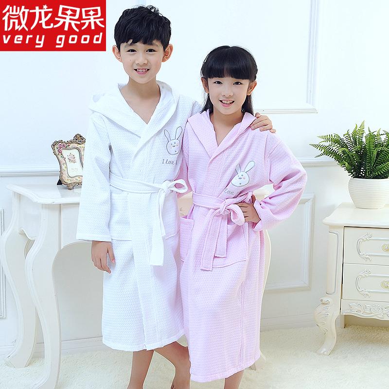 儿童浴袍纯棉中大童男孩女孩男童女童游泳全棉吸水毛巾料夏季薄款
