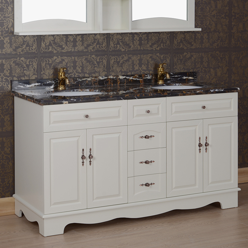 浴室柜组合大理石面盆洗手池落地卫生间双人洗脸盆柜双台盆柜5074