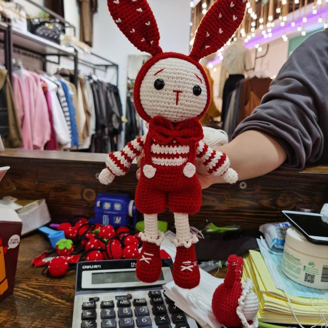 手工制作礼物毛线娃娃情侣玩偶兔 d 二百万妈咪纯手工钩针编织玩偶