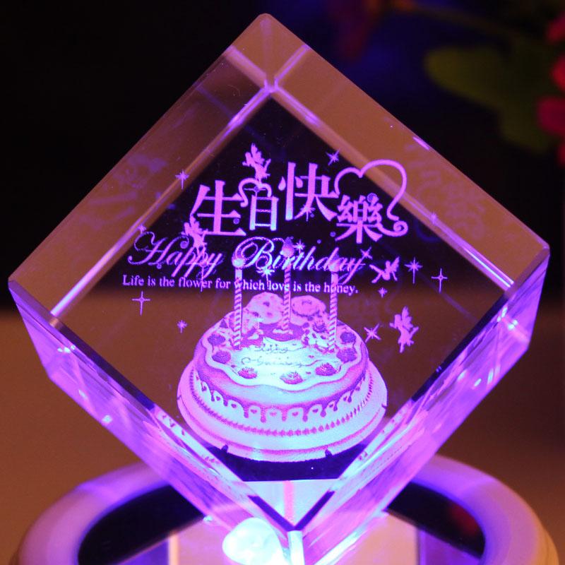 小礼品 diy 旋转水晶球音乐盒八音盒生日礼物创意特别送男朋友闺蜜
